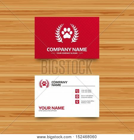 Business card template. Winner pets laurel wreath sign icon. Dog paw symbol. Phone, globe and pointer icons. Visiting card design. Vector
