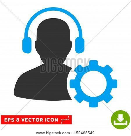 Operator Configuration Gear EPS vector icon. Illustration style is flat iconic bicolor blue and gray symbol on white background.