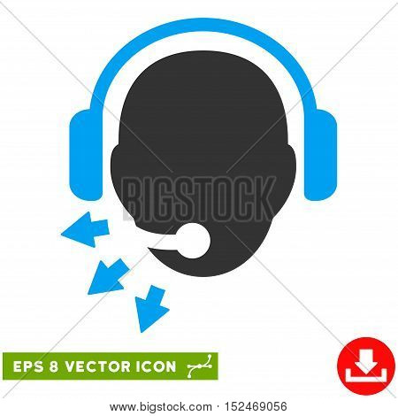 Operator Message EPS vector pictogram. Illustration style is flat iconic bicolor blue and gray symbol on white background.