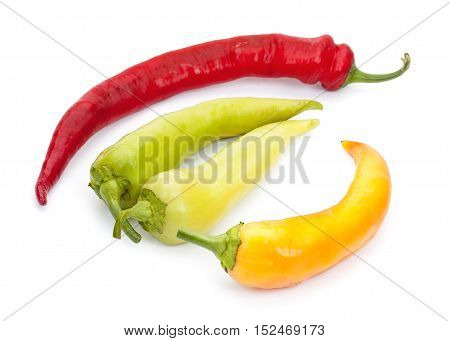 Heap Of Colorful Hot Chili Pepper, Isolated On A White Background, Top View.