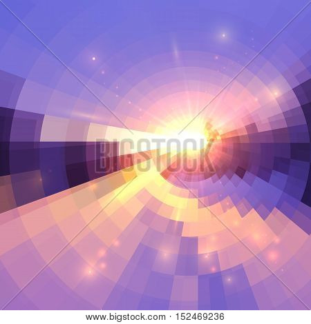 Blue and pink colors concentric shining mosaic vector abstract background
