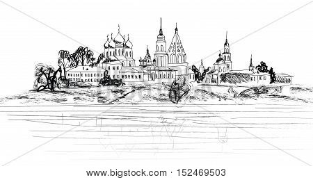Russian ancient city landscape. Kolomna city view. Famous landmark cityscape. Travel Russia sketch background