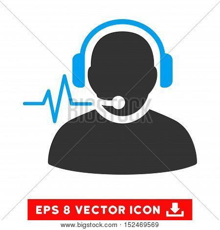 Operator Signal EPS vector pictogram. Illustration style is flat iconic bicolor blue and gray symbol on white background.
