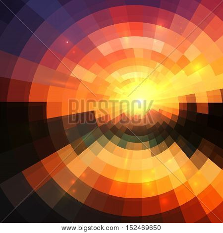 Yellow, red and black colors concentric shining mosaic vector abstract background