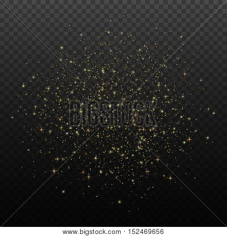 Glow light effect, Golden Star Dust, Vector design elements
