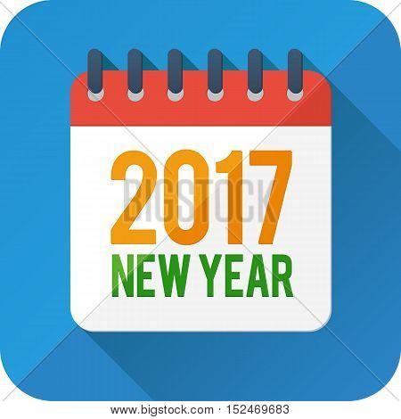 2017 new year flat style vector calendar icon