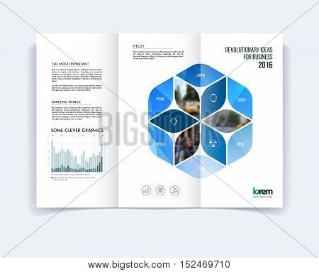 Tri-fold Brochure template layout, cover design, flyer in A4 with blue rhombus, rectangle, diagram infographics for business and construction concept. Abstract vector design.