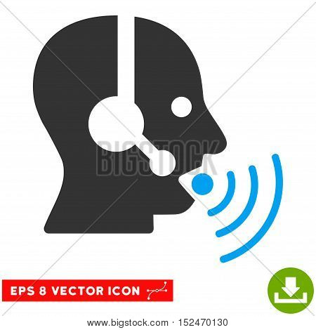 Operator Talking Sound Waves EPS vector pictogram. Illustration style is flat iconic bicolor blue and gray symbol on white background.
