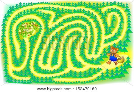 Exercise for children. Help a little bear find the berries - draw a track. Developing skills for writing and drawing. Vector image.
