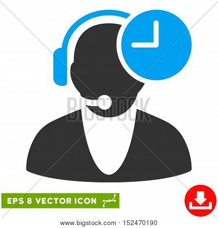 Operator Time EPS vector pictograph. Illustration style is flat iconic bicolor blue and gray symbol on white background.