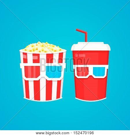 Popcorn soda takeaway and 3d cinema glasses. Vector flat design cartoon illustration