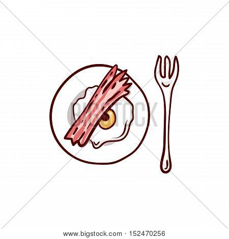 Bacon and eggs with eyeball and meat paw. Halloween lunch clip-art, isolated on white. Hand drawn sketchy icon, design element for halloween party invitation card, greeting card, banner, coupon
