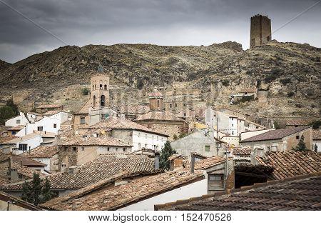 a view over La Hoz de la Vieja Town, Teruel, Spain