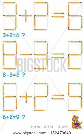 Logic puzzle. In each task move 2 pencils to make the equations correct. Vector image. Scale to any size without loss of resolution.
