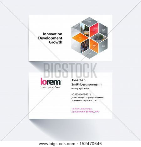 Vector business card template with orange grey rhombus, rectangle for business and consulting and science concept. Simple and clean design. Creative corporate identity layout.