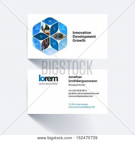Vector business card template with blue rhombus, rectangle for business and consulting and science concept. Simple and clean design. Creative corporate identity layout.