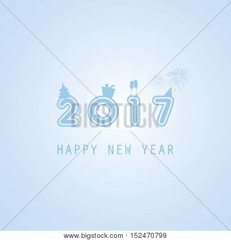 Best Wishes - Abstract Colorful Modern Styled New Year Card, Cover or Background Design Template with Numerals - 2017