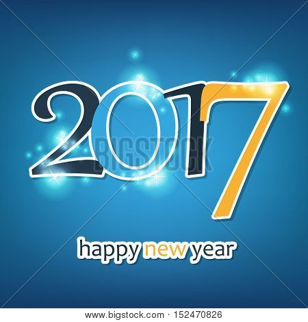 Sparkling Colorful New Year Card, Cover or Background Design Template - 2017