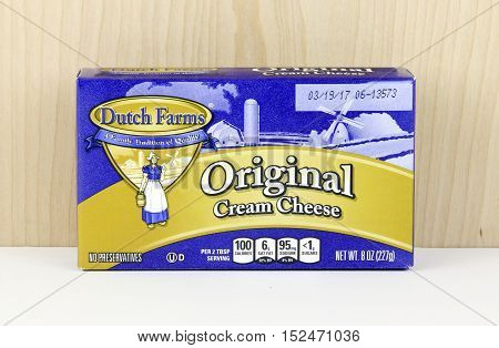 Spencer Wisconsin - October 19 2016 Box of Dutch Farms Cream Cheese Dutch Farms is an American family owned business founded in 1929