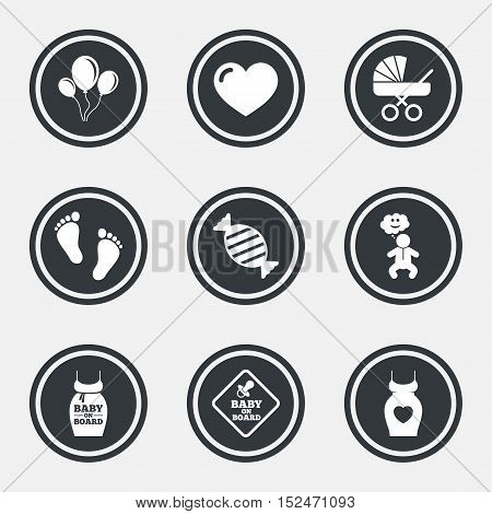 Pregnancy, maternity and baby care icons. Newborn, strollers and pacifier signs. Footprint, candy and love symbols. Circle flat buttons with icons and border. Vector