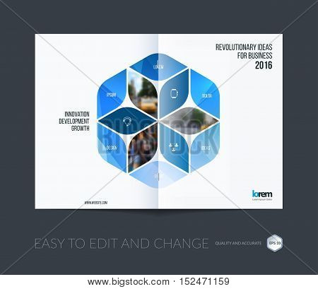 Brochure template layout, cover design annual report, magazine, flyer in A4 with blue rhombus, rectangle for business and consulting, construction concept. Abstract vector design.