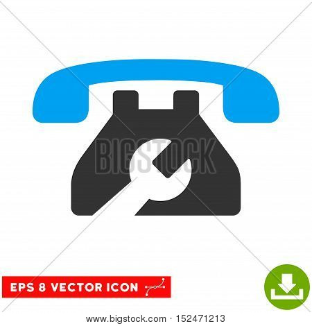 Repair Service Phone EPS vector pictograph. Illustration style is flat iconic bicolor blue and gray symbol on white background.