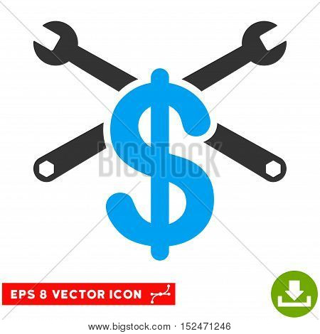 Repair Service Price EPS vector pictograph. Illustration style is flat iconic bicolor blue and gray symbol on white background.