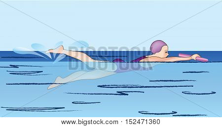 Girl swimmer racing in the pool illustration. Swimming school lesson banner