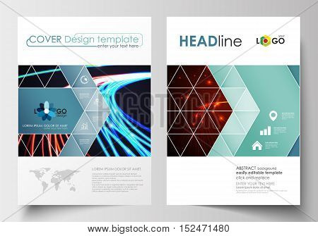Business templates for brochure, magazine, flyer, booklet or annual report. Cover design template, easy editable blank, abstract flat layout in A4 size. Abstract lines background with color glowing neon streams, motion design vector.