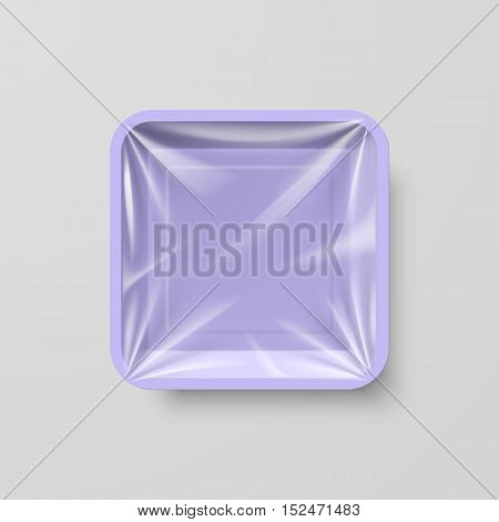 Empty Purple Plastic Food Square Container on Gray