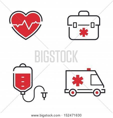 Medical icons set ambulance hospital, emergency medical icons.