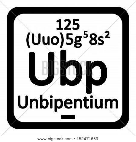 Periodic table element unbipentium icon on white background. Vector illustration.