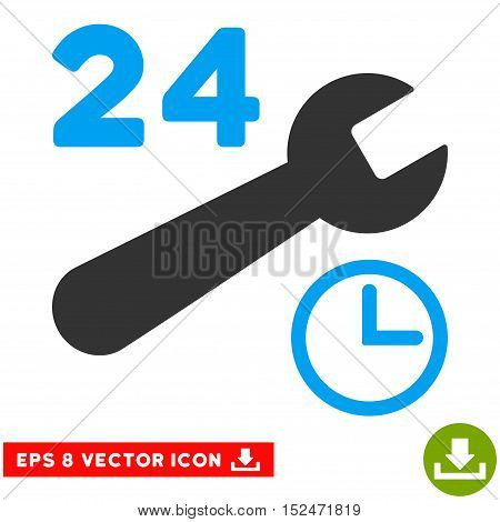 Service Hours EPS vector pictogram. Illustration style is flat iconic bicolor blue and gray symbol on white background.