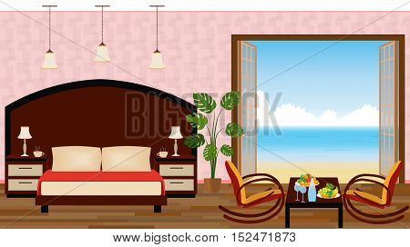 Luxury interior of resort hotel room with outlet to sea. Vector illustration in flat style