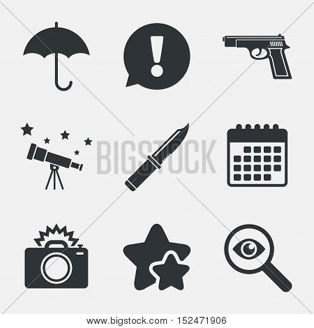 Gun weapon icon.Knife, umbrella and photo camera with flash signs. Edged hunting equipment. Prohibition objects. Attention, investigate and stars icons. Telescope and calendar signs. Vector