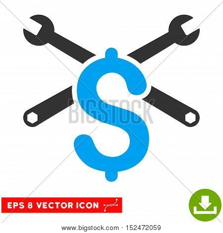 Service Price EPS vector pictogram. Illustration style is flat iconic bicolor blue and gray symbol on white background.