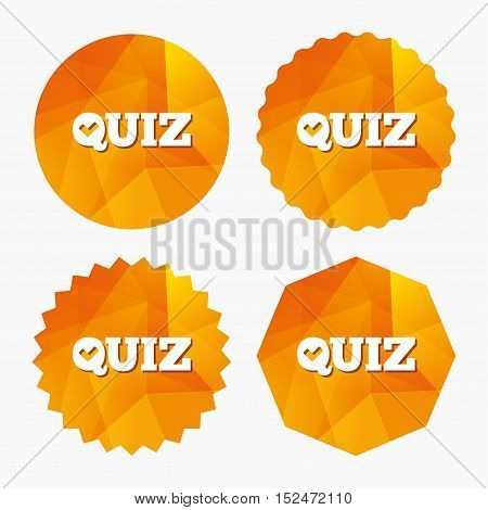 Quiz check sign icon. Questions and answers game symbol. Triangular low poly buttons with flat icon. Vector