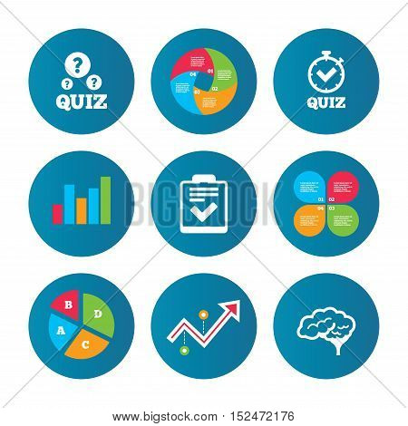 Business pie chart. Growth curve. Presentation buttons. Quiz icons. Human brain think. Checklist and stopwatch timer symbol. Survey poll or questionnaire feedback form sign. Data analysis. Vector