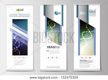Set of roll up banner stands, flat design templates, abstract geometric style, modern business concept, corporate vertical vector flyers, flag banner layouts. DNA molecule structure, science background. Scientific research, medical technology.