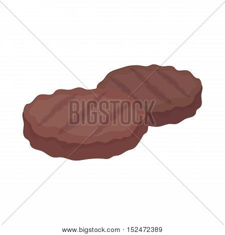 Grilled patties icon in cartoon style isolated on white background. Meats symbol vector illustration