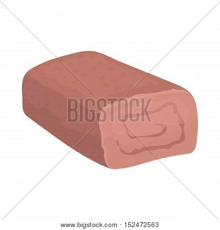 Meatloaf icon in cartoon style isolated on white background. Meats symbol vector illustration