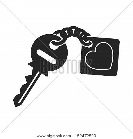 Key icon in black style isolated on white background. Romantic symbol vector illustration.