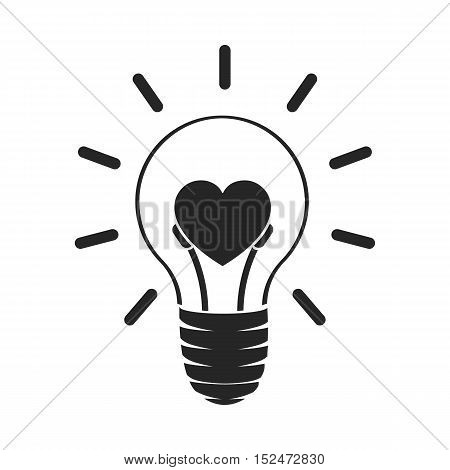 Lightbulb icon in black style isolated on white background. Romantic symbol vector illustration.