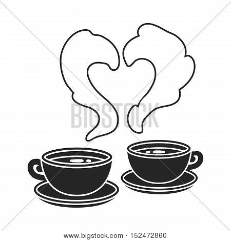 Coffee icon in black style isolated on white background. Romantic symbol vector illustration.