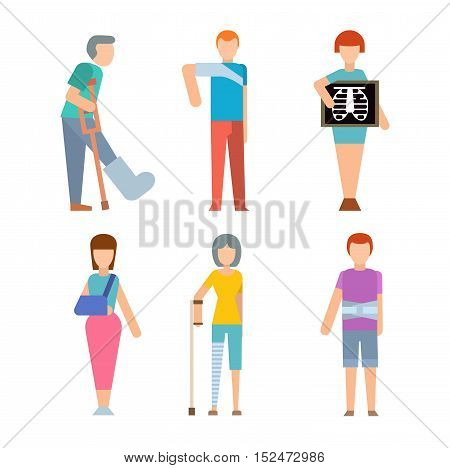 Trauma accident fracture human body safety vector people silhouettes