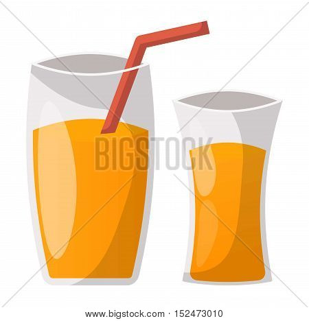 Glass of orange juice fresh drink beverage healthy drink isolated vector illustration.