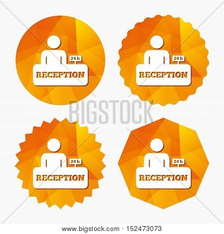 Reception sign icon. 24 hours Hotel registration table with administrator symbol. Triangular low poly buttons with flat icon. Vector