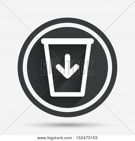 Send to the trash icon. Recycle bin sign. Circle flat button with shadow and border. Vector