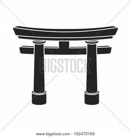 Torii icon in black style isolated on white background. Religion symbol vector illustration.