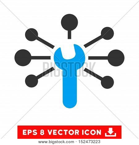 Service Wrench Relations EPS vector pictograph. Illustration style is flat iconic bicolor blue and gray symbol on white background.